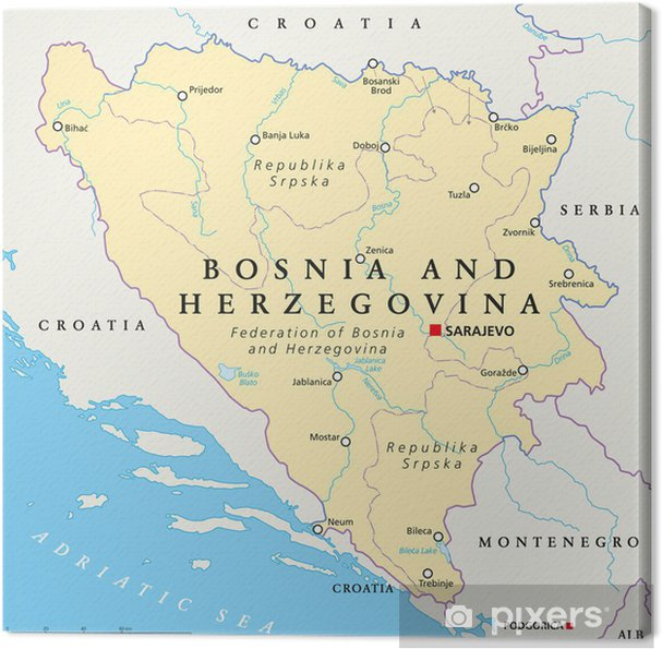 Bosnia And Herzegovina Political Map Canvas Print Pixers We