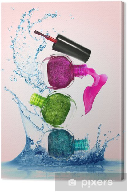 Bottles with spilled nail polish Canvas Print - Fashion