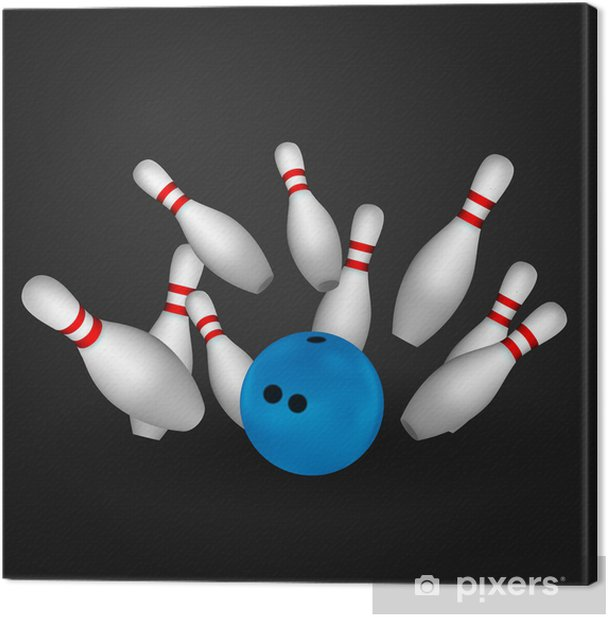 Bowl and bowling pins. Bowling concept. Canvas Print - Individual Sports