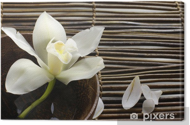 bowl of orchid, petal on bamboo mat Canvas Print - Styles