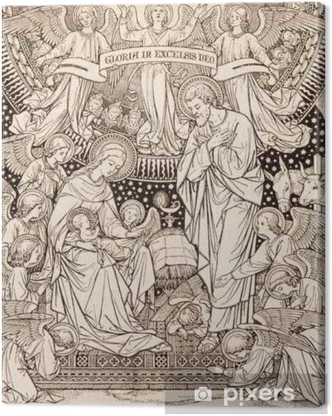 BRATISLAVA, SLOVAKIA, NOVEMBER - 21, 2016: The lithography of Nativity in Missale Romanum by unknown artist with the initials F.M.S from end of 19. cent. and printed by Typis Friderici Pustet. Canvas Print - Culture and Religion