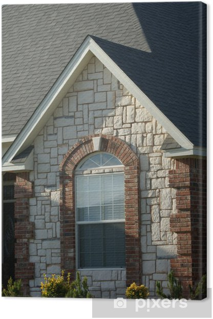 brick and stone arched window Canvas Print - Home and Garden
