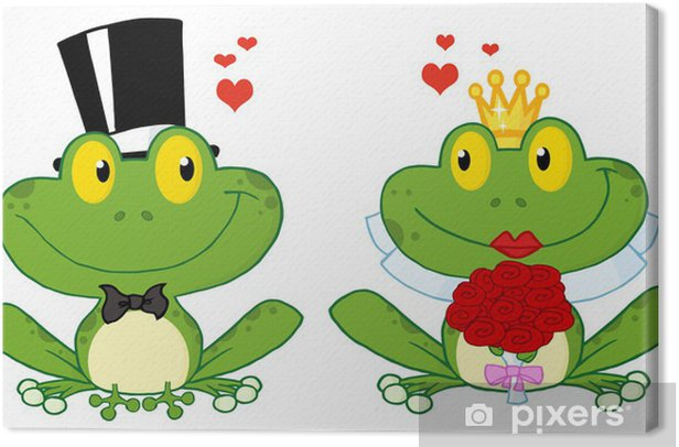 Bride And Groom Frogs Cartoon Characters On A Leafs Canvas Print Pixers We Live To Change