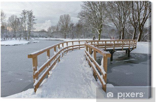 Bridge over frozen river Canvas Print - Seasons