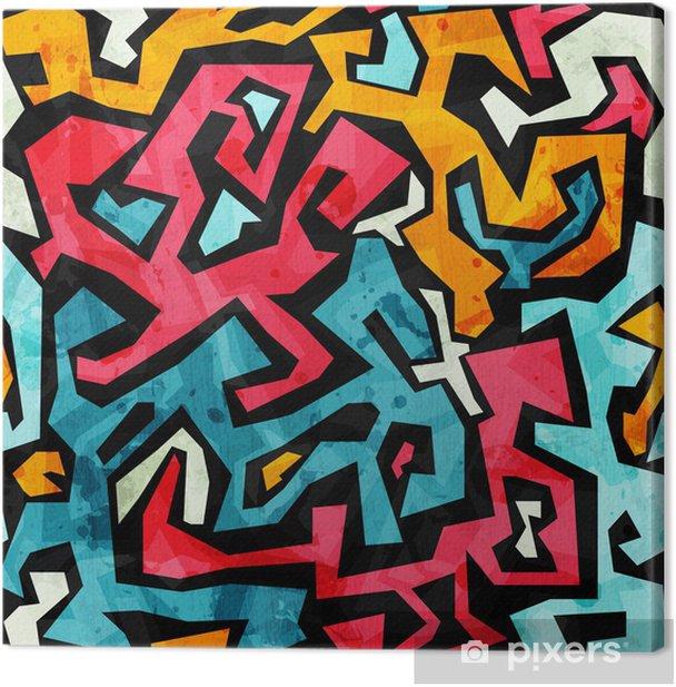 bright graffiti seamless pattern with grunge effect Canvas Print - Themes