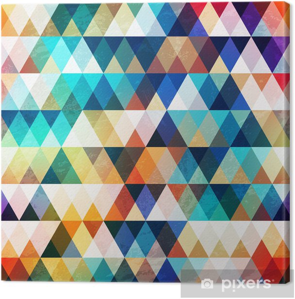 bright triangle seamless pattern with grunge effect Canvas Print - Themes