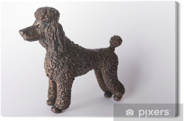 Bronze statuette of a poodle dog Canvas Print - Art and Creation