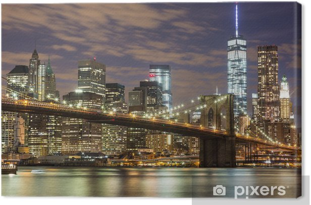 Brooklyn Bridge and Downtown Skyscrapers in New York at Dusk Canvas Print -