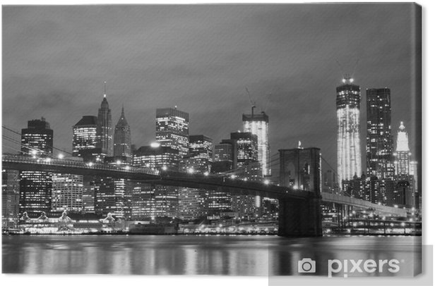 Brooklyn Bridge and Manhattan Skyline At Night, New York City Canvas Print -