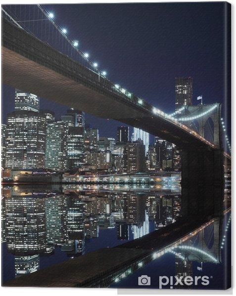 Brooklyn Bridge and Manhattan Skyline At Night, New York City Canvas Print -