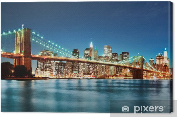 Brooklyn bridge at night Canvas Print -