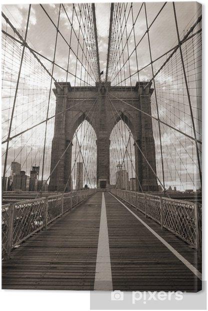 Brooklyn Bridge in New York City. Sepia tone. Canvas Print -