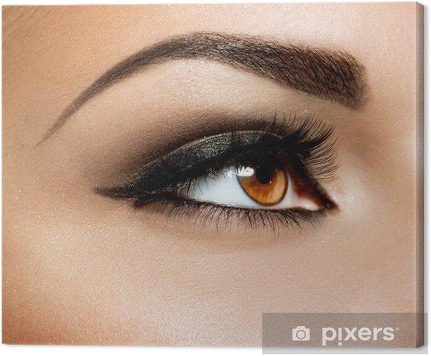 Brown Eye Makeup. Eyes Make-up Canvas Print - Themes