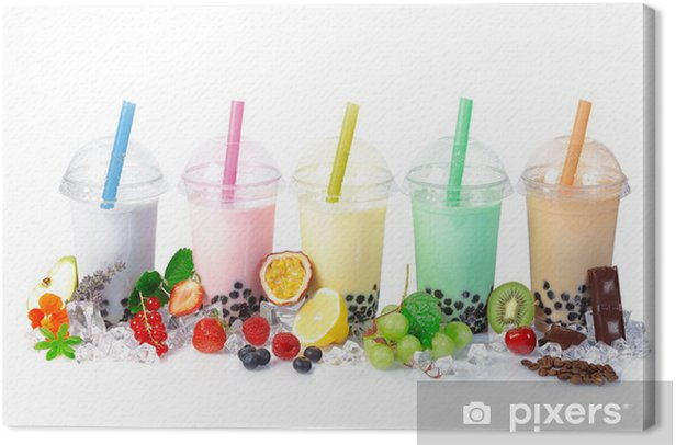 Bubble Tea in a row Canvas Print - Wall decals