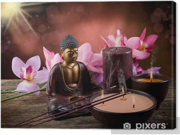 buddah witn candle and incense Canvas Print - Styles