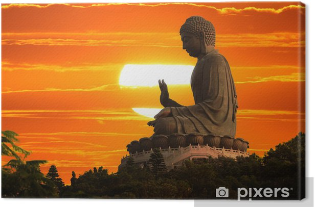 Buddha statue at sunset Canvas Print - Styles