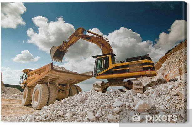 bulldozer excavator in quarry Canvas Print - Heavy Industry
