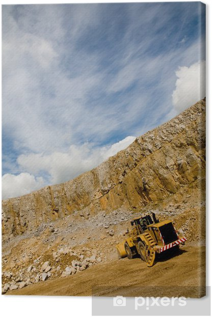 Bulldozer working in quarry - angled shot with blue sky Canvas Print - Heavy Industry