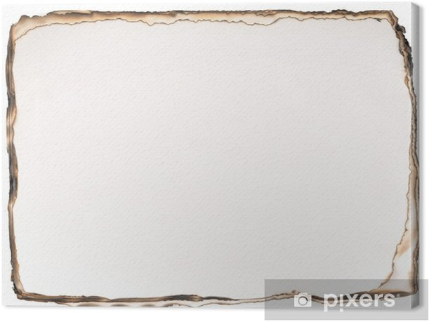 Burned paper background isolated on white background. Canvas Print - Sales