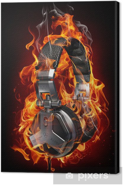 Burning headphones Canvas Print - Teenage boy's room