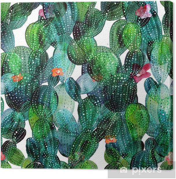 Cactus pattern in watercolor style Canvas Print - Plants and Flowers