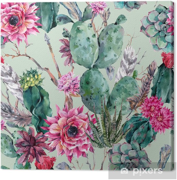 Cactus watercolor seamless pattern in boho style. Canvas Print - Plants and Flowers