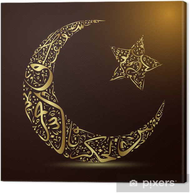 calligraphy, moon and star Canvas Print - Religion
