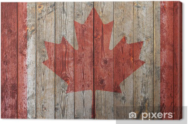 Canadian flag wooden background Canvas Print - America