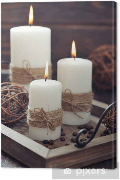 Candles on vintage tray Canvas Print - Home and Garden