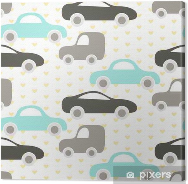 9bb50696042de Car cute baby vector seamless pattern. Kid fabric and apparel design. Baby  blue and grey cars on heart pattern. Canvas Print