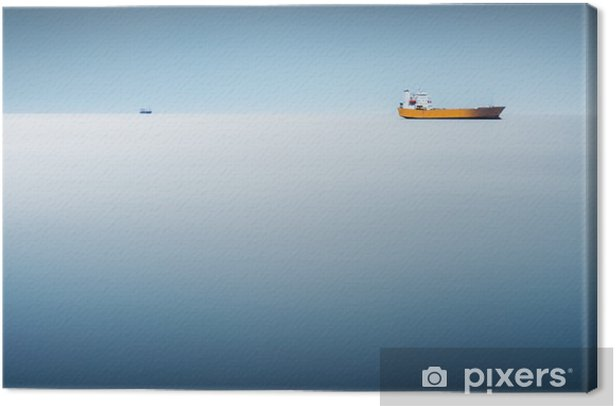 Cargo ship in the sea - long exposure to have the sea like an abstract background Canvas Print - Transport