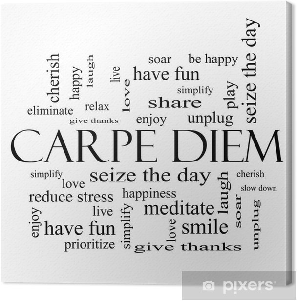 Carpe Diem Word Cloud Concept in black and white Canvas Print - iStaging