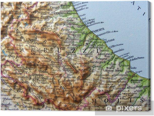 Cartina Geografica Molise Mare.Carta Geografica Dell Abruzzo E Del Molise Canvas Print Pixers We Live To Change