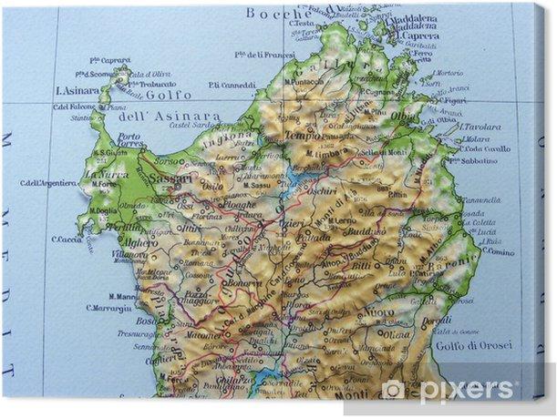 Sardegna Cartina Geografica.Carta Geografica Della Sardegna Canvas Print