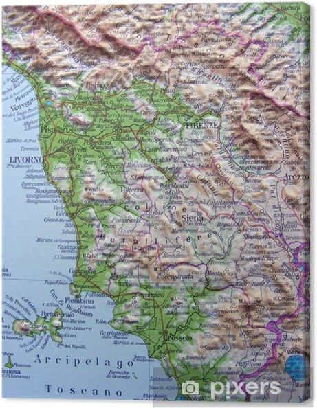 Cartina Geografica Lazio Toscana.Carta Geografica Della Toscana Canvas Print