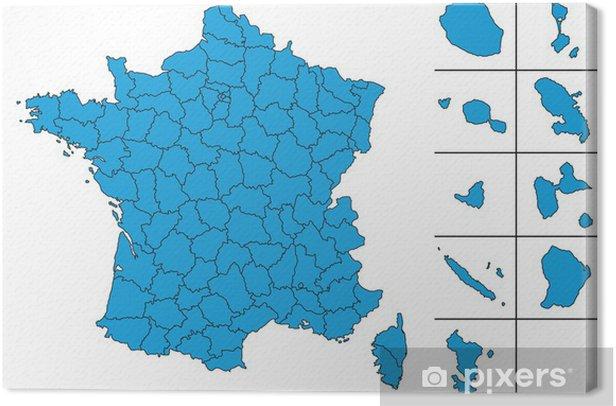 carte des dom tom Carte de France vectoriel avec Départements et le DOM TOM Canvas