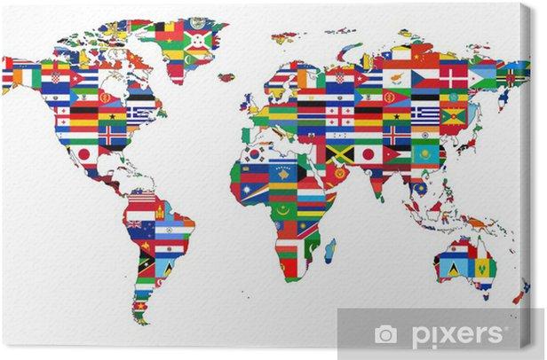 Carte du Monde avec drapeaux Canvas Print - iStaging
