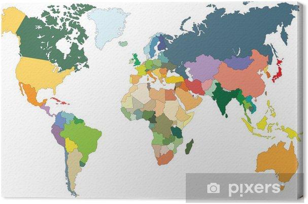 Carte Du Monde Map.Carte Du Monde Avec Pays Canvas Print