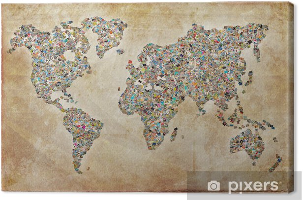 Carte du monde photos, texture vintage Canvas Print - Themes