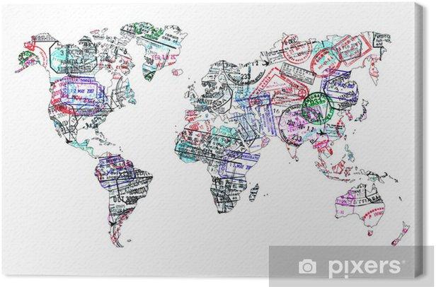 Carte du monde tampons de passeport, isolé Canvas Print - iStaging
