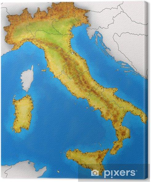 Italia Fisica Cartina Muta.Cartina Italia Fisica Illustrazione Canvas Print