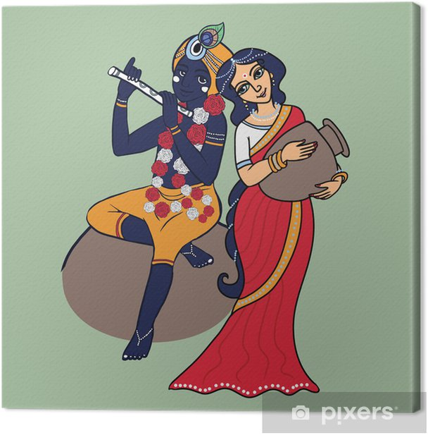 Cartoon Hindu Gods Krishna And Radha Lord Krishna Playing On Flute Shrimati Radharani With Pot In Red Sari Canvas Print Pixers We Live To Change