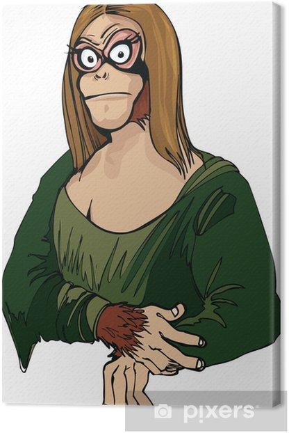 Cartoon Mona Lisa as an ape Canvas Print - Art and Creation