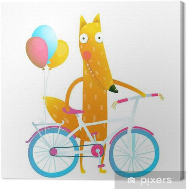 Cartoon red funny fox with bicycle and balloons Canvas Print - Animals