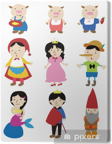 Cartoon Story People Icon Canvas Print