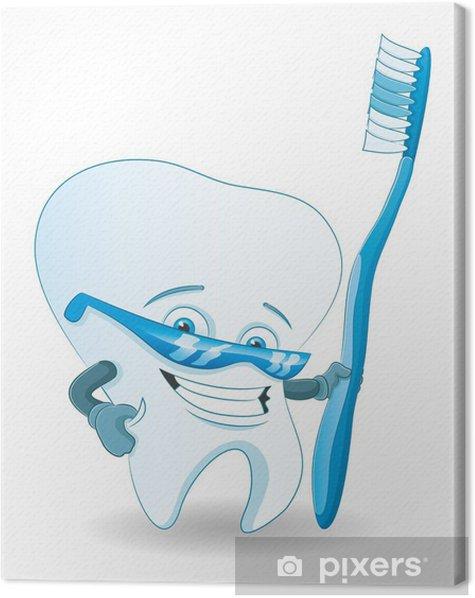 Cartoon tooth. Canvas Print - Health and Medicine
