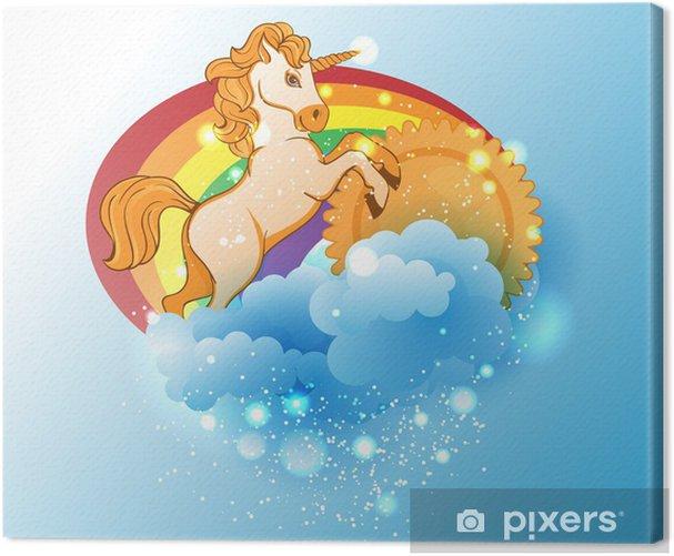 Cartoon unicorn, sun, rainbow and clouds Canvas Print - Themes
