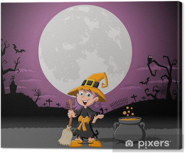 Cartoon witch girl on halloween cemetery background Canvas Print