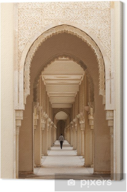 Casablanca, Morocco: Intricate exterior marble and mosaic stone Canvas Print - Public Buildings