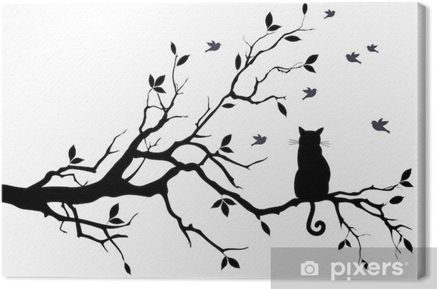 cat on a tree with birds, vector Canvas Print - Science & Nature